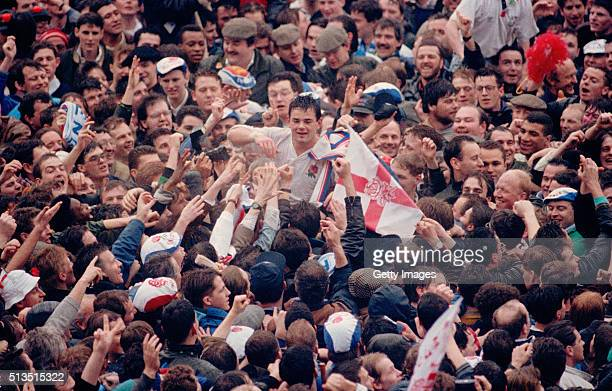 England captain Will Carling is chaired from the pitch after England had beaten France 2119 to win the 5 Nations Championship and the Grand Slam at...