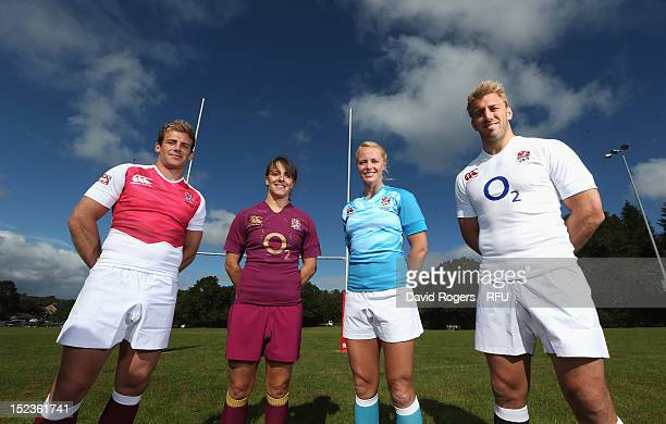 819e42c34f3 England captains Chris Robshaw Michaela Staniford Katy McLean and Rob  Vickerman pose during the official launch. Official Launch of New England  Rugby ...