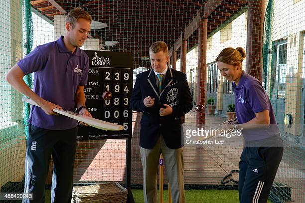 England Captains Stuart Broad and Charlotte Edwards watched by Tom Ibison of Guinness World Records as they try to set a new record of Cricket Bat...
