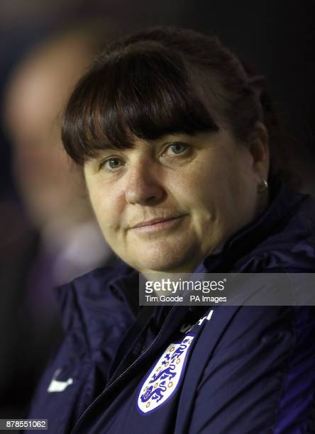 England caretaker manager Mo Marley during the 2019 Women's World Cup Qualifying match at the Banks's Stadium Walsall