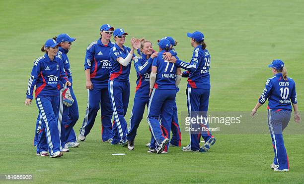 England celebrate a West Indies wicket during the NatWest Women's International T20 Series match between England Women and West Indies Women at...
