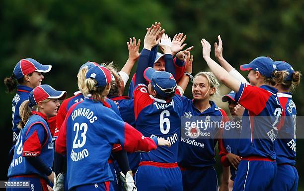 England celebrate a wicket in the field during the sixth Natwest series one day international match between England and New Zealand at Shenley Park...