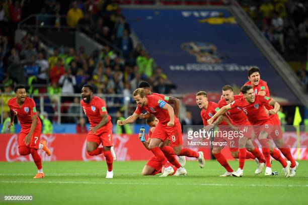 England celebrate after Eric Dier of England scores the winning penalty during the 2018 FIFA World Cup Russia Round of 16 match between Colombia and...