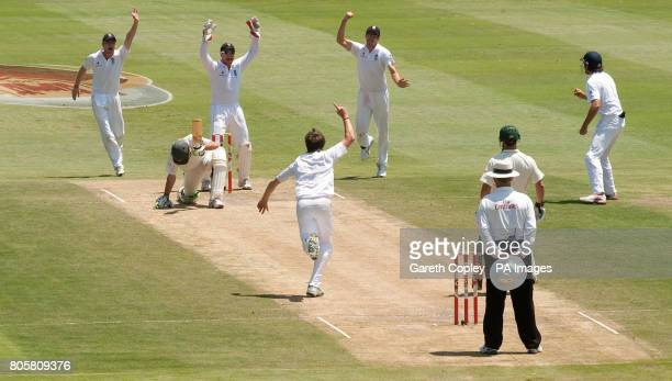 England celebrate after South Africa's AB deVilliers appears to edge the ball to England's James Anderson he was given not out after South Africa...