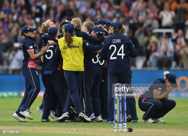 England celebrate after taking the final India wicket of Rajeshwari Gayakwad to win the ICC Women's World Cup 2017 Final between England and India at...