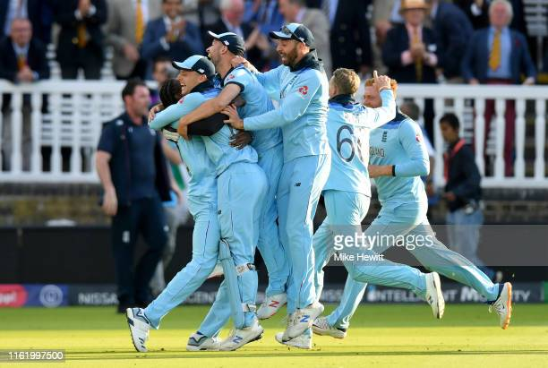 England celebrate after victory during the Final of the ICC Cricket World Cup 2019 between New Zealand and England at Lord's Cricket Ground on July...