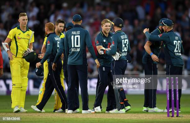 England celebrate after winning the 3rd Royal London ODI match between England and Australia at Trent Bridge on June 19 2018 in Nottingham England