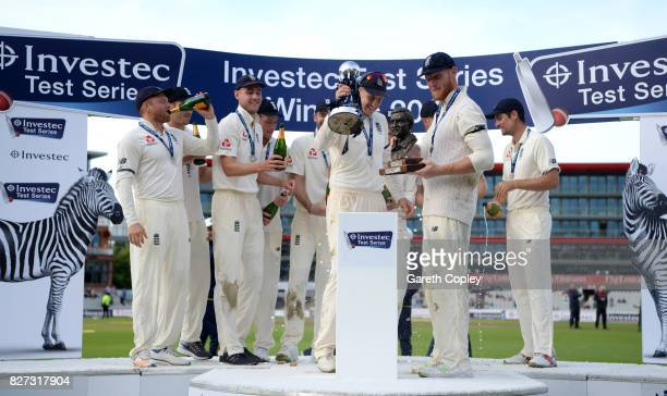 England celebrate after winning the Investec Test series between England and South Africa at Old Trafford on August 7 2017 in Manchester England