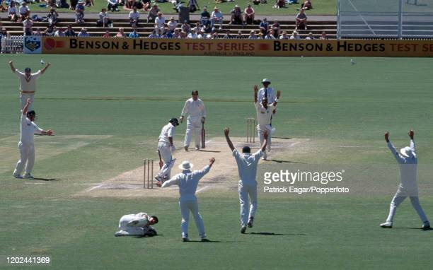 England celebrate as Greg Blewett of Australia is caught behind for 12 runs by England wicketkeeper Steve Rhodes off the bowling of Chris Lewis...