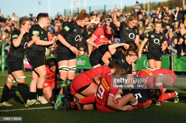 England celebrate as Lark Davies goes over for her team's second try during the Quilter International match between England Women and Canada Women at...