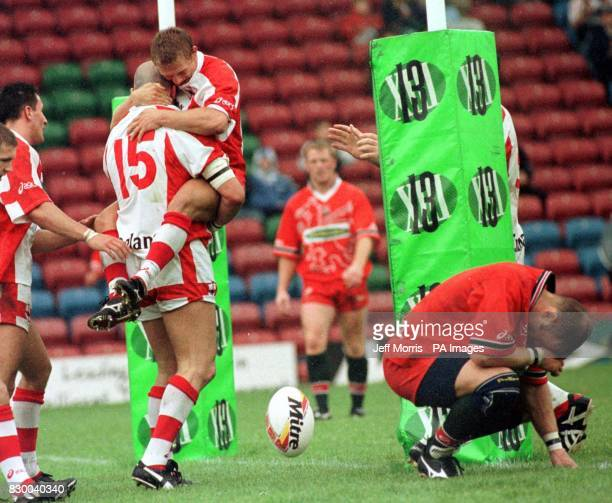 England celebrate as Paul Davidson scores the winning try in the rugby league match against Wales during the Thomson ESG match at the Auto Quest...