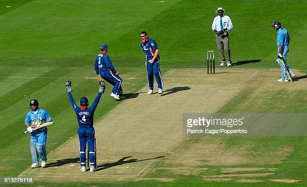 England celebrate as Sachin Tendulkar is bowled by Ashley Giles in the NatWest Series Final between England and India at Lord's London 13th July 2002...