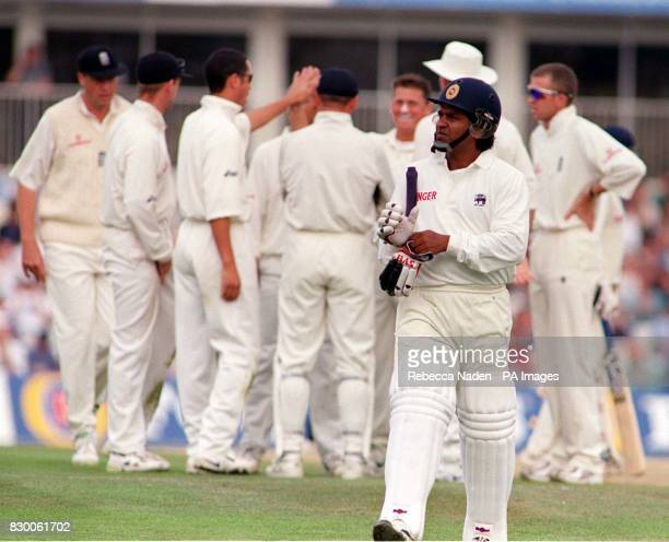 England celebrate in the background as Darren Gough claims the wicket of Sri Lankan captain Arjuna Ranatunga lbw for 51 during the Cornhill Insurance...