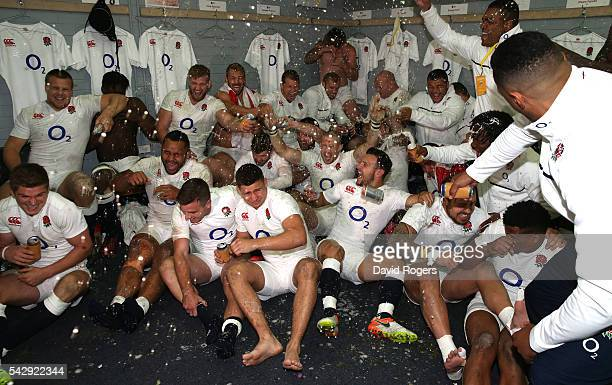 England celebrate in the dressing room after their series victory during the International Test match between the Australian Wallabies and England at...