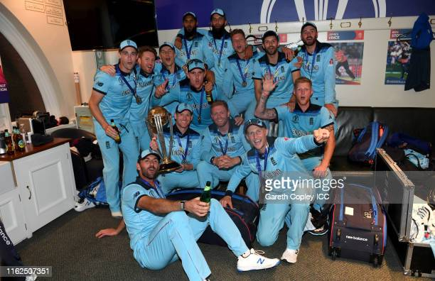England celebrate in the dressing rooms after winning the Final of the ICC Cricket World Cup 2019 between New Zealand and England at Lord's Cricket...