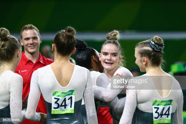 England celebrate silver in the Women's Team Final and Individual Qualification Artistic Gymnastics on day two of the Gold Coast 2018 Commonwealth...