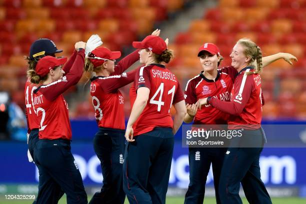 England celebrate the win during the ICC T20 Women's World Cup cricket match between England and West Indies at The Sydney Showground on March 01...