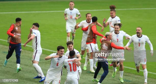England celebrate their 1st goal scored by Raheem Sterling during the UEFA Euro 2020 Championship Round of 16 match between England and Germany at...