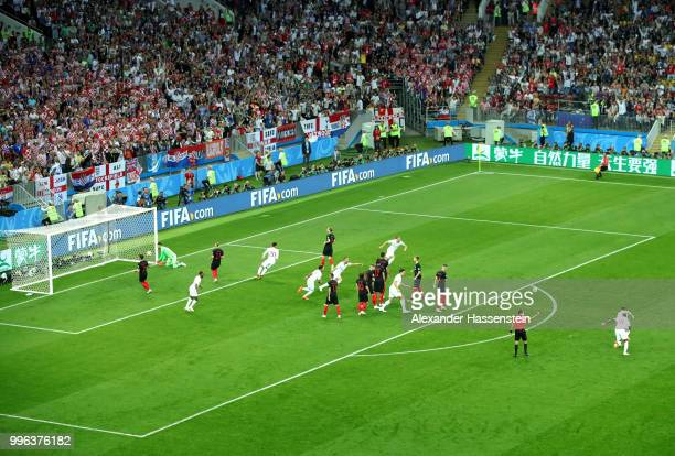 England celebrate their first goal during the 2018 FIFA World Cup Russia Semi Final match between England and Croatia at Luzhniki Stadium on July 11...
