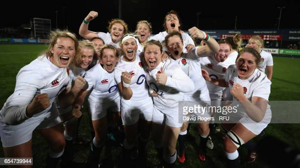 England celebrate their Grand Slam victory during the Womens Six Nations match between Ireland Women v England Women at Donnybrook Stadium on March...