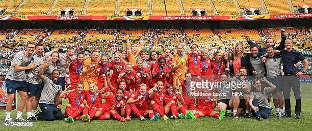 England celebrate their third place win over Germany after the FIFA Women's World Cup 2015 Third Place Playoff match between Germany and England at...