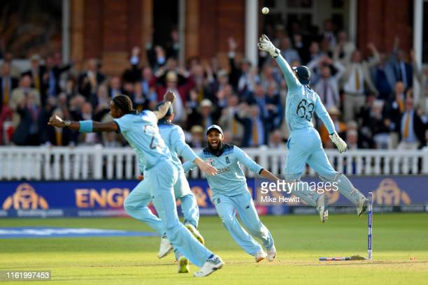 England celebrate victory during the Final of the ICC Cricket World Cup 2019 between New Zealand and England at Lord's Cricket Ground on July 14 2019...