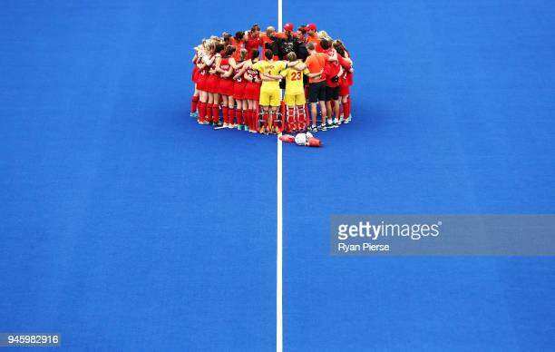 England celebrate victory during the Women's Bronze Medal match between England and India during Hockey on day 10 of the Gold Coast 2018 Commonwealth...