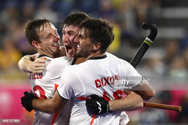 England celebrate victory in the Men's bronze medal match between England and India during Hockey on day 10 of the Gold Coast 2018 Commonwealth Games...