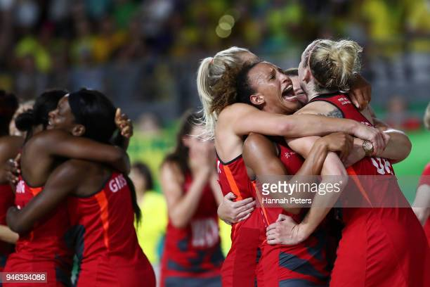 England celebrate victory in the Netball Gold Medal Match on day 11 of the Gold Coast 2018 Commonwealth Games at Coomera Indoor Sports Centre on...