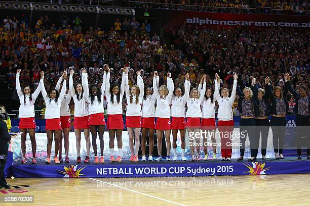 England celebrate winning the Bronze Medal during the 2015 Netball World Cup Sydney 2015 at Allphones Arena Sydney Australia on Sunday August 16th...
