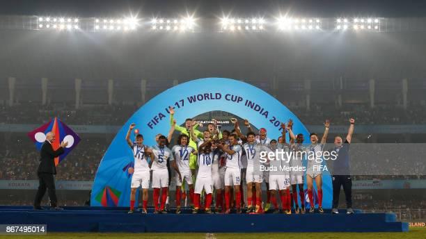 England celebrate winning the FIFA U17 World Cup India 2017 Final match between England and Spain at Vivekananda Yuba Bharati Krirangan on October 28...