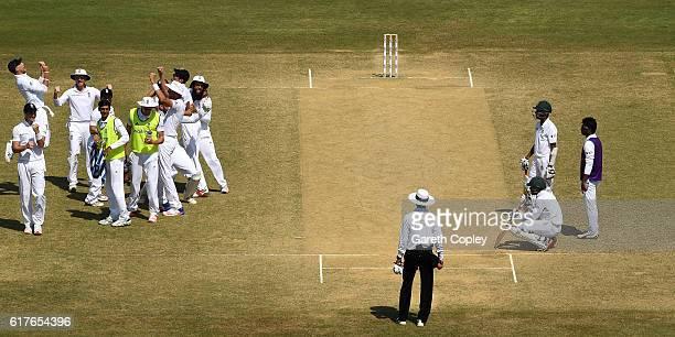 England celebrate winning the first Test between Bangladesh and England at Zohur Ahmed Chowdhury Stadium on October 24 2016 in Chittagong Bangladesh