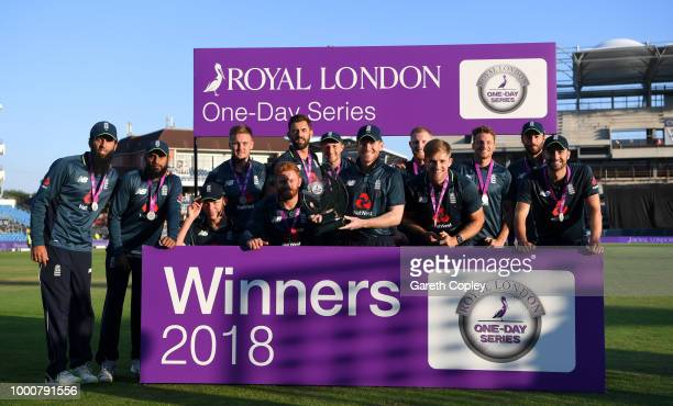 England celebrate winning the Royal London OneDay International Series between England and India at Headingley on July 17 2018 in Leeds England