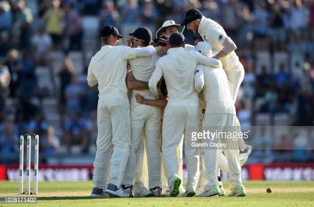 England celebrate winning the Specsavers 4th Test match between England and India at The Ageas Bowl on September 2 2018 in Southampton England