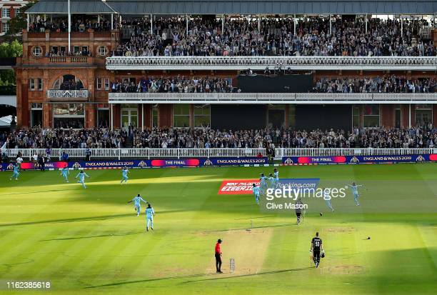 England celebrate winning the World Cup at the end of the Final of the ICC Cricket World Cup 2019 between New Zealand and England at Lord's Cricket...
