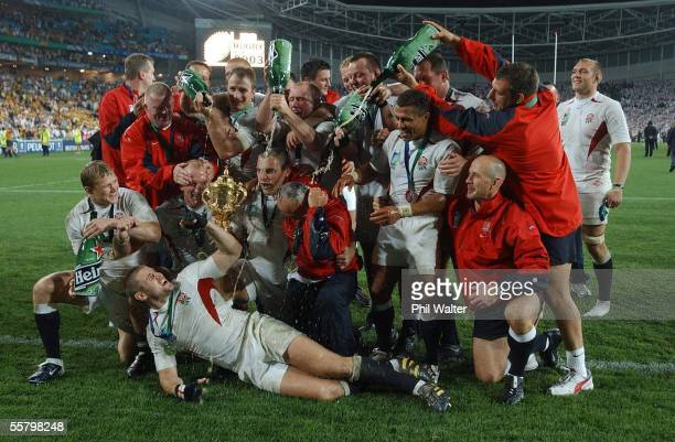 England celebrate with the William Webb Ellis Trophy following the 2003 Rugby World Cup Final played against Australia at the Telstra...