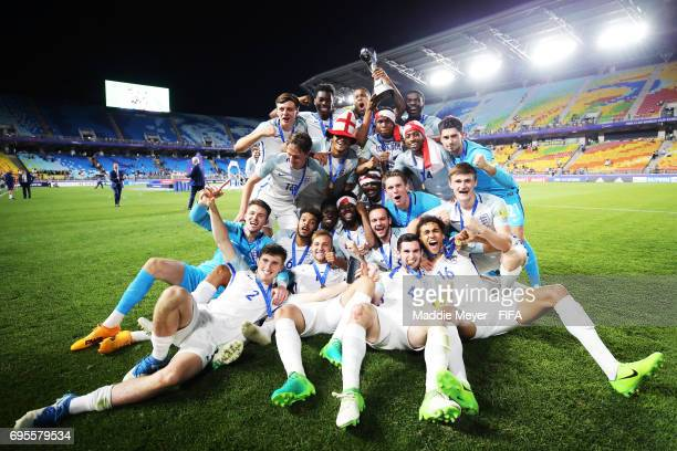 England celebrates after defeating Venezuela 10 in the FIFA U20 World Cup Korea Republic 2017 Final match at Suwon World Cup Stadium on June 11 2017...