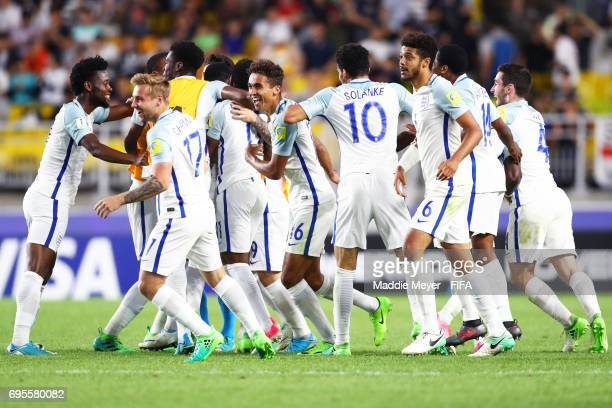 England celebrates after defeating Venezuela 10 in the FIFA U20 World Cup Korea Republic 2017 Final at Suwon World Cup Stadium on June 11 2017 in...