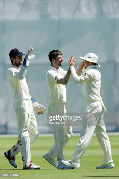 England celebrates after taking the wicket of Jake Doran of the Cricket Australia XI during the Two Day tour match between the Cricket Australia CA...