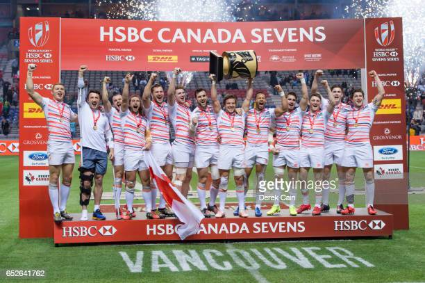 England celebrates on the HSBC Canada Sevens podium after defeating South Africa in the Cup Final on day 2 of the 2017 Canada Sevens Rugby Tournament...