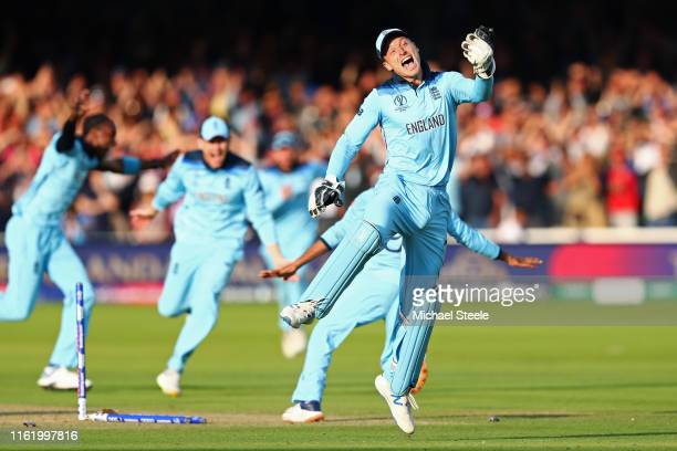 England celebrates victory during the Final of the ICC Cricket World Cup 2019 between New Zealand and England at Lord's Cricket Ground on July 14,...