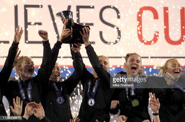 England celebrates winning the SheBelieves Cup at Raymond James Stadium on March 05 2019 in Tampa Florida