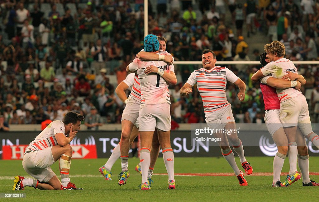 England celebrating during the final match between England and South Africa during day 2 of the HSBC Cape Town Sevens at Cape Town Stadium on December 11, 2016 in Cape Town, South Africa.