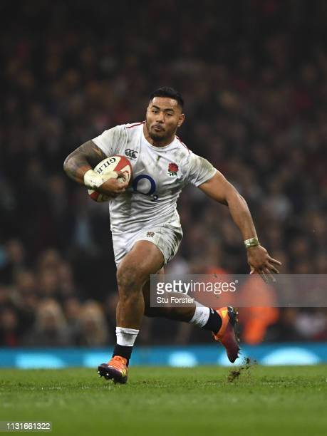 England centre Manu Tuilagi makes a break during the Guinness Six Nations match between Wales and England at Principality Stadium on February 23 2019...