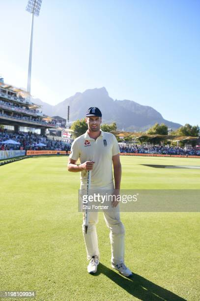 England century maker Dom Sibley holds a match stump after Day Five of the Second Test between South Africa and England at Newlands on January 07...