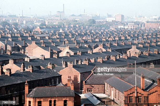 England Circa 1960's A general view of the rows of terraced houses in Manchester which makes up the opening titles for the television series...