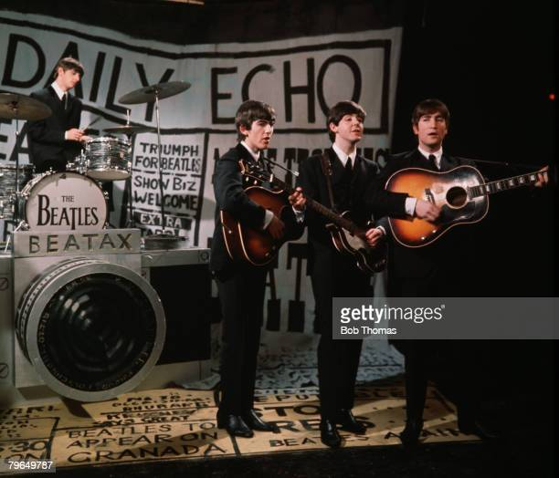 England Circa 1963 British pop group 'The Beatles' are pictured performing together LR Ringo Starr George Harrison Paul McCartney and John Lennon