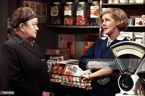 England Circa 1970 Actress Irene Sutcliffe who plays the role of Maggie Clegg is pictured with Violet Carson as Ena Sharples in a scene from the...