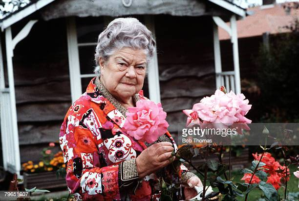 England Circa 1970 Actress Violet Carson who plays the role of Ena Sharples in the television series Coronation Street is pictured in her garden...