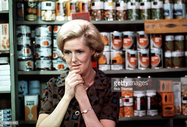 England Circa 1970's Actress Irene Sutcliffe who plays the role of Maggie Clegg is pictured in a scene from the television series 'Coronation Street'